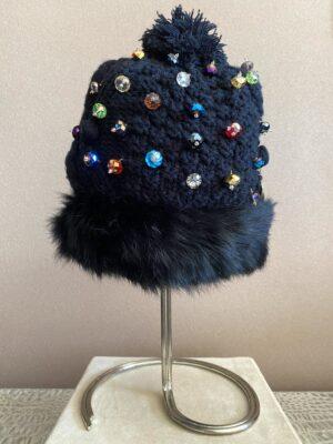 cuffietta in lana con cristalli